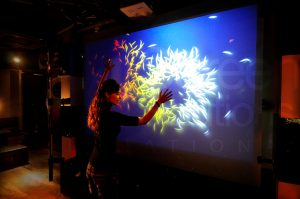 accent rear projection film interactive application